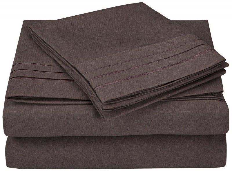 Image 5 of 4 Piece King 3 Line Embroidery Microfiber Sheet Set