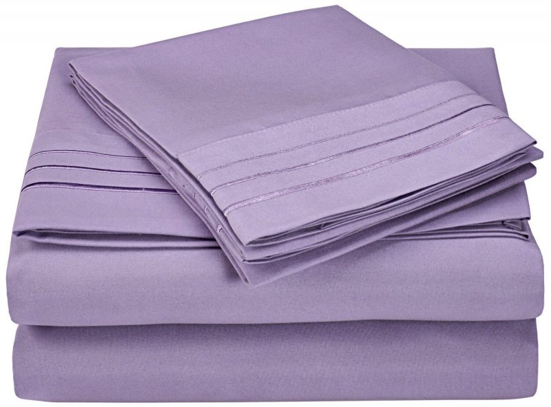 Image 7 of 4 Piece King 3 Line Embroidery Microfiber Sheet Set