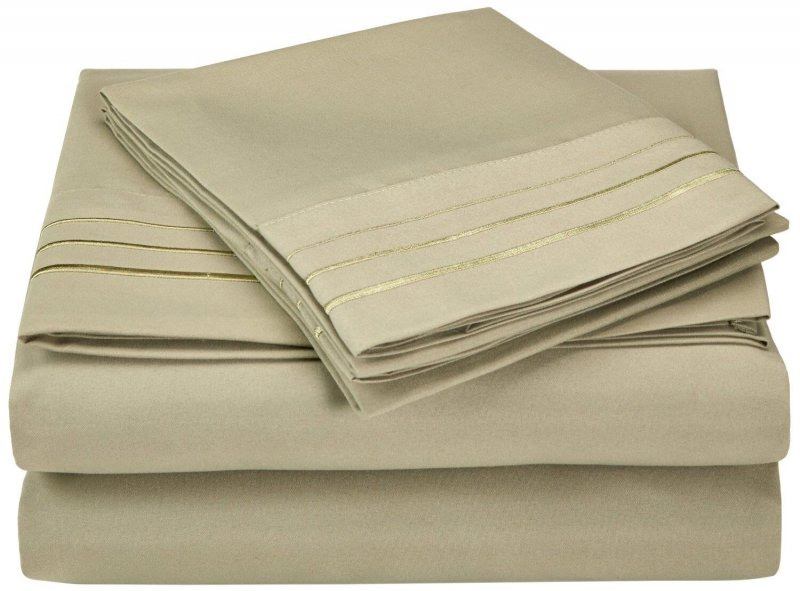 Image 19 of California King 3 Line Embroidery Microfiber Sheet Set