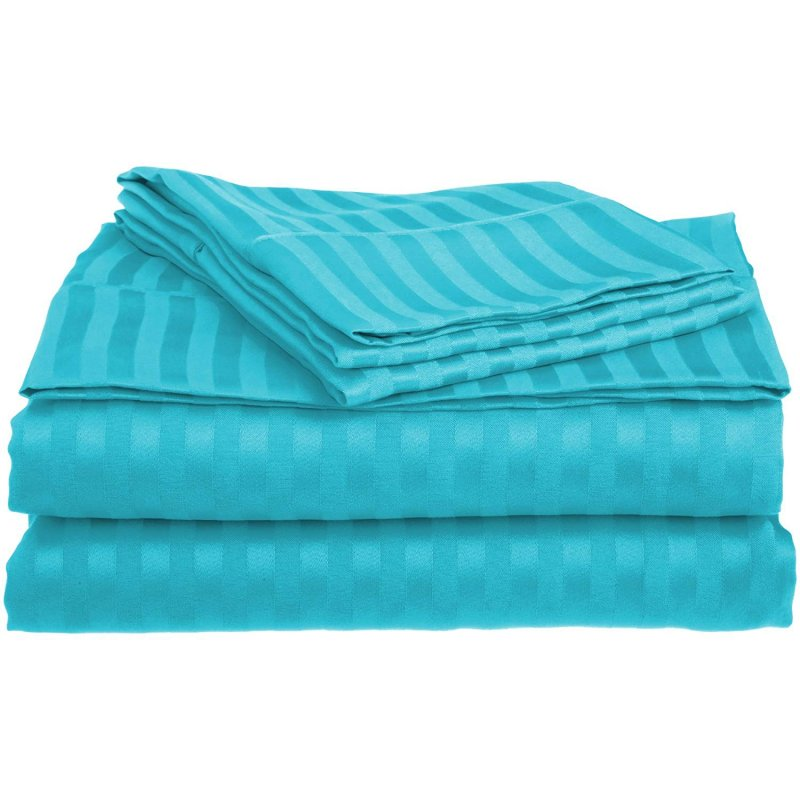 Full Teal 1500 Striped Sheet Set
