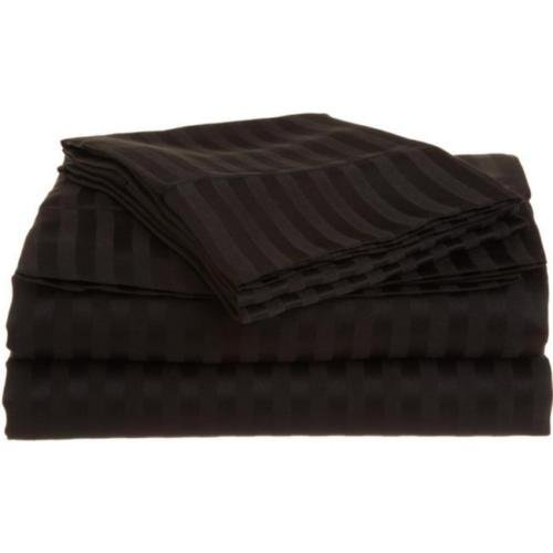 Full Black 1500 Striped Sheet Set