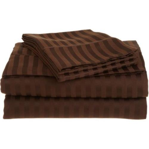 Full Mocha 1500 Striped Sheet Set