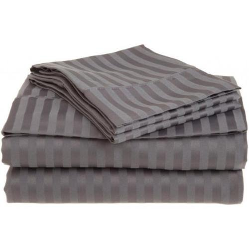 Queen Silver 1500 Striped Sheet Set