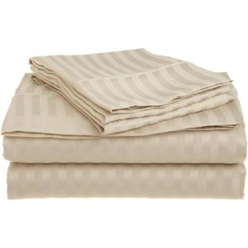 Queen Tan 1500 Striped Sheet Set