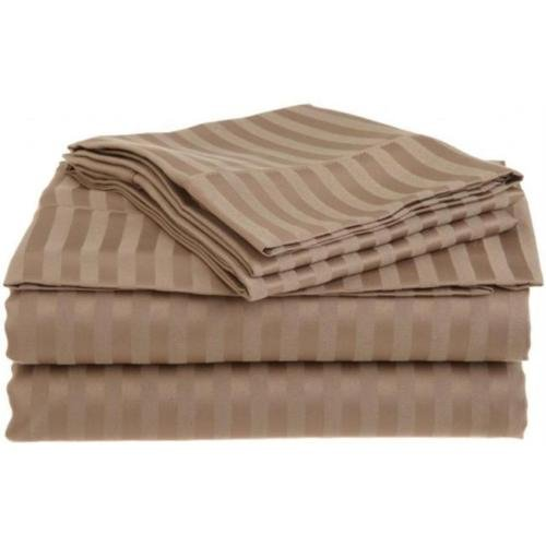 Queen Taupe 1500 Striped Sheet Set