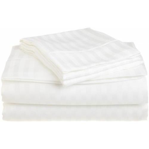 Queen White 1500 Striped Sheet Set