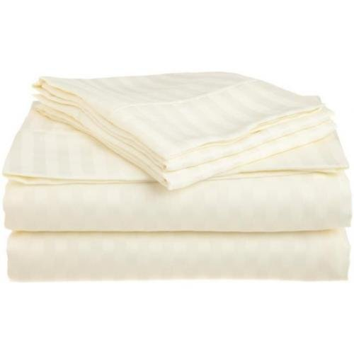 Queen Ivory 1500 Striped Sheet Set