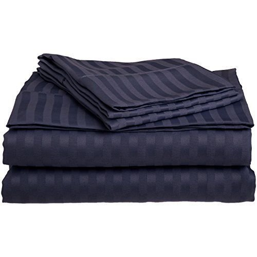 Queen Navy Blue 1500 Striped Sheet Set