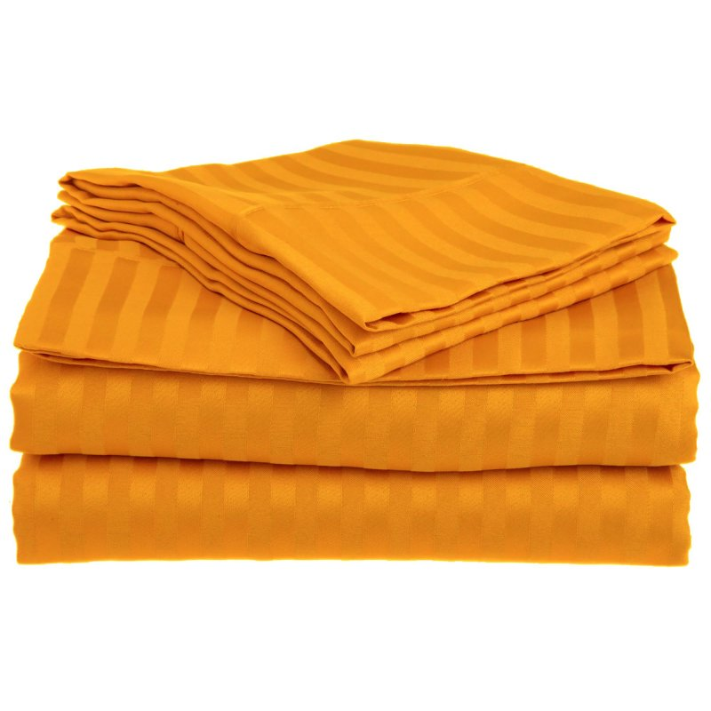 Queen Orange 1500 Striped Sheet Set