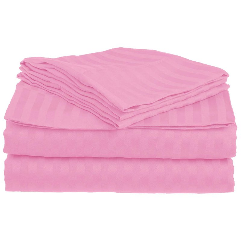 Queen Pink 1500 Striped Sheet Set