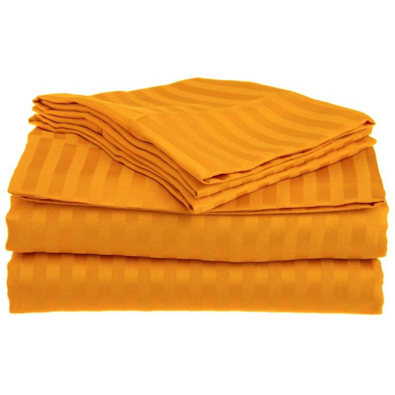 King Orange 1500 Striped Sheet Set