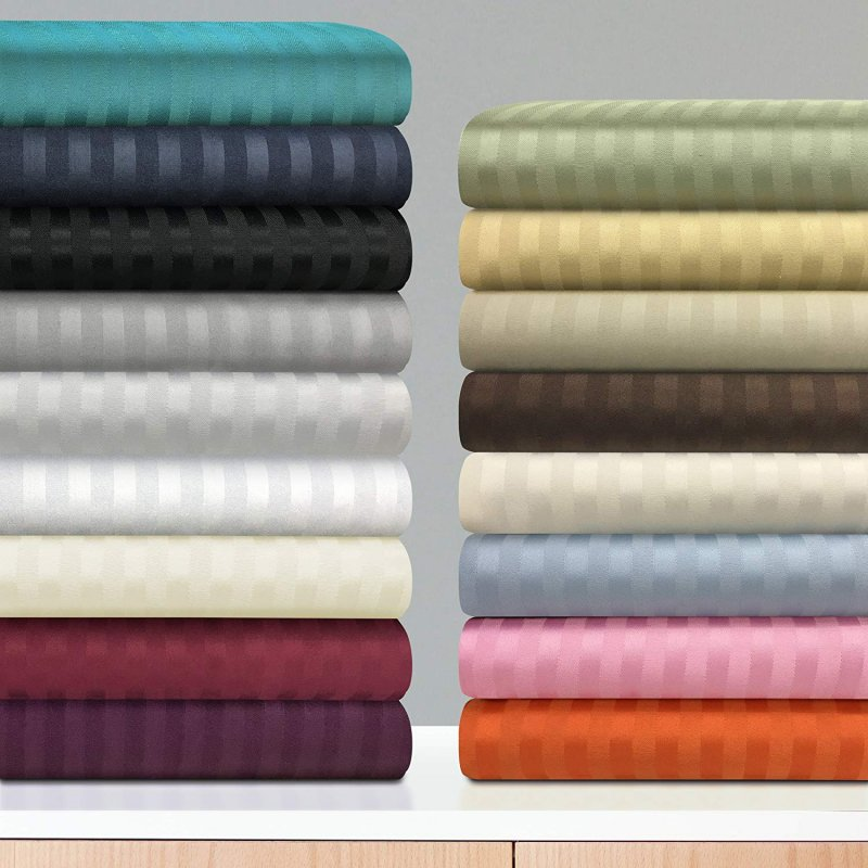 Image 0 of 4-Piece Cal King Superior 1500 Series Striped Brushed Microfiber Sheet Set
