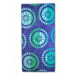 Blue Spinning Wheels Theme Over-Sized Beach Towel 450 GSM Jacquard 100% Cotton