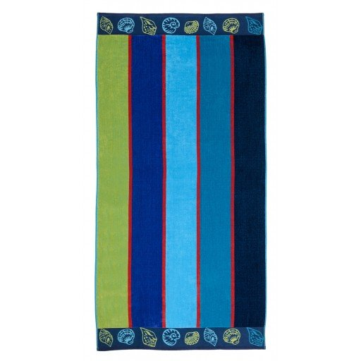 Striped with Seashells Trim Beach Towel. 34