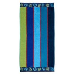 Multi-Color Striped & Seashells Theme Oversized Beach Towel Jacquard 100% Cotton