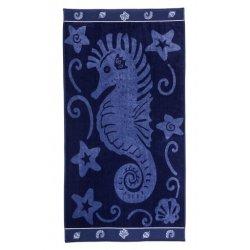 Blue Sea Horse Theme Over-sized Beach Towel 450 GSM Jacquard 100% Cotton