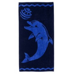 Playing Dolphin Over-Sized Blue Beach Towel 450 GSM Jacquard 100% Cotton