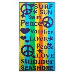 Peace, Love, Swim Vacation Striped Over-Sized Beach Towel Jacquard 100% Cotton
