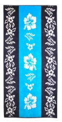 Blue Hibiscus Flower Pattern Over-Sized Beach Towel Jacquard 100% Cotton