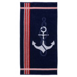 Navy with Red Stripes Anchor Theme Over-Sized Beach Towel Jacquard 100% Cotton