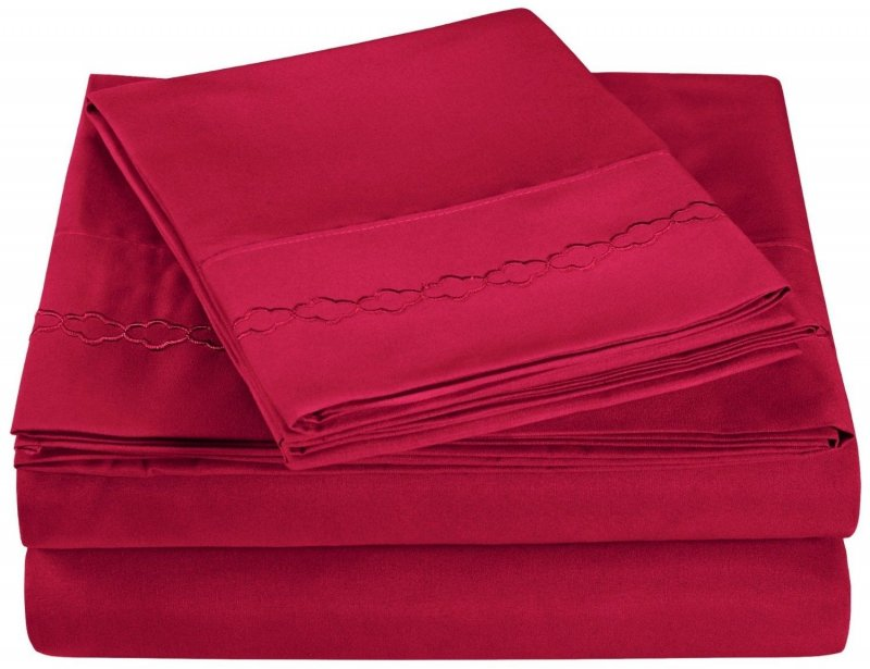 Twin Extra Long Burgundy Embroidered Clouds Microfiber Sheet Set