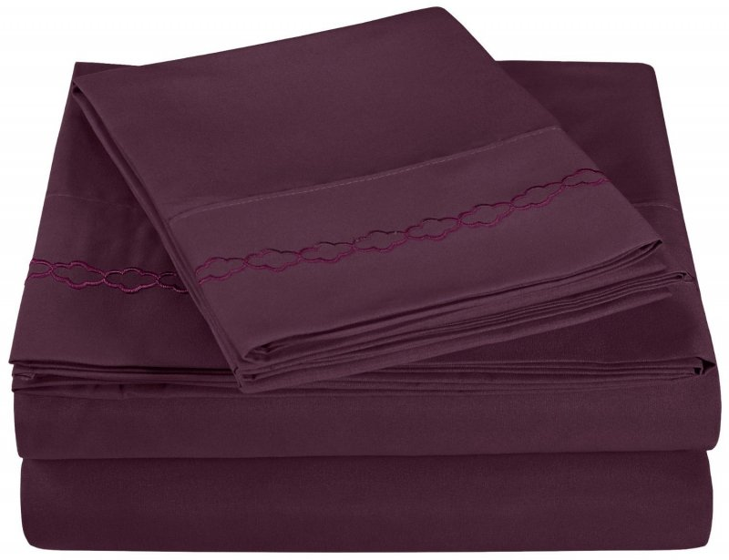 Twin Plum Embroidered Clouds Microfiber Sheet Set