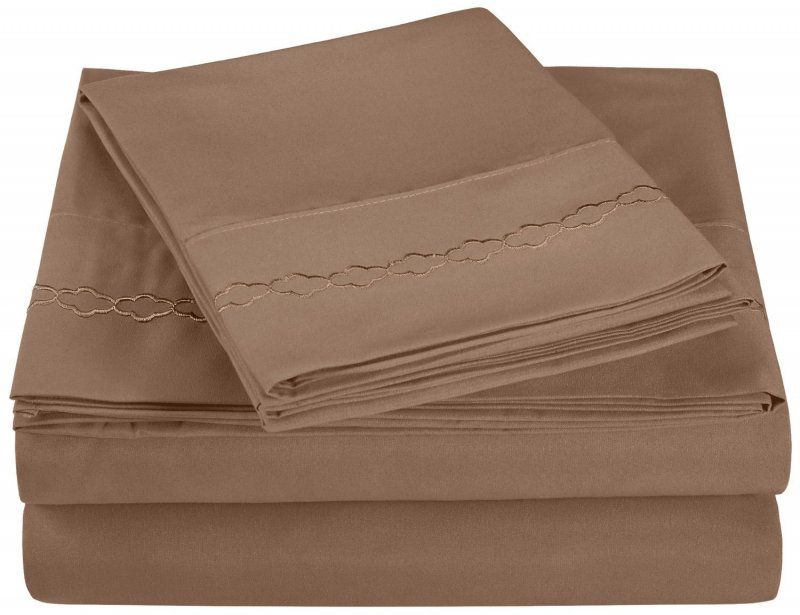 Twin Taupe Embroidered Clouds Microfiber Sheet Set