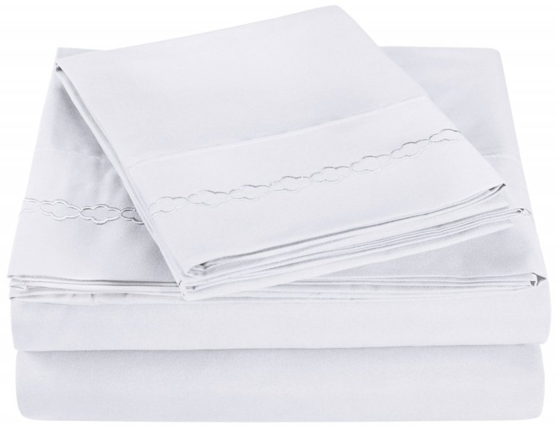 Twin Extra Long White Embroidered Clouds Microfiber Sheet Set