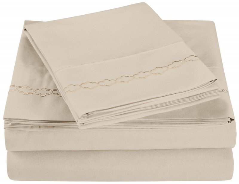 Full Ivory Superior Cloud Embroidered Microfiber Sheet Set