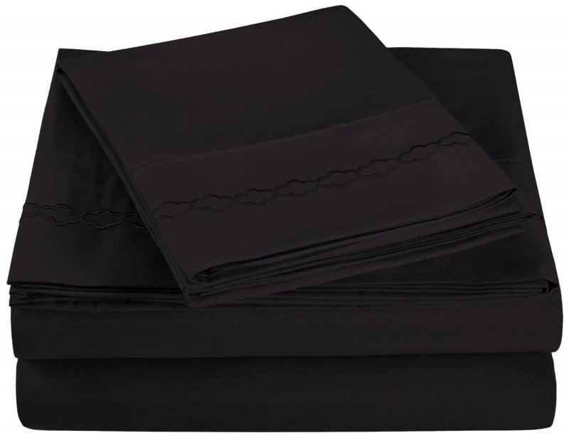Queen Black Superior Clouds Embroidered Microfiber Sheet Set