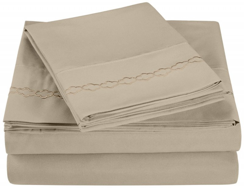 Queen Tan Superior Clouds Embroidered Microfiber Sheet Set