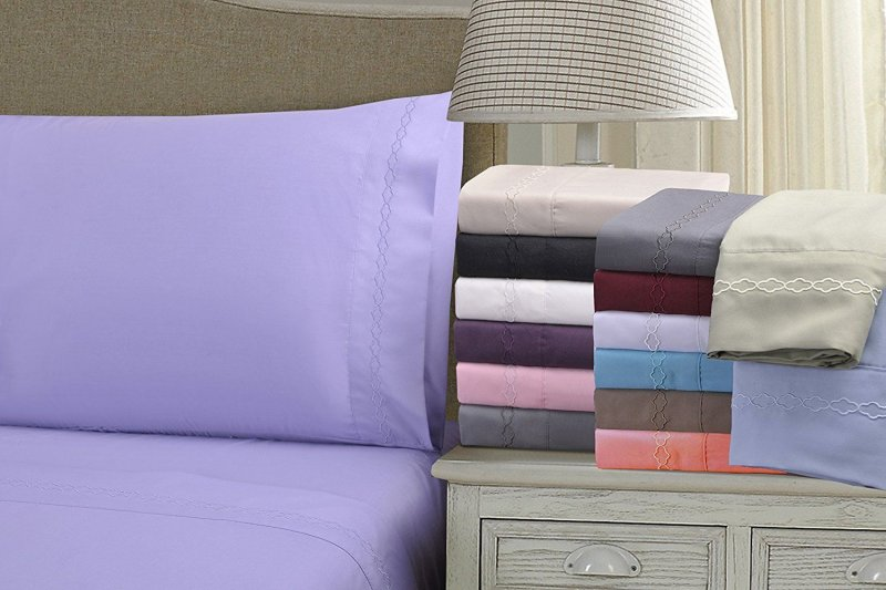 Image 0 of King Superior Clouds Embroidery Microfiber Sheet Set 4 Piece