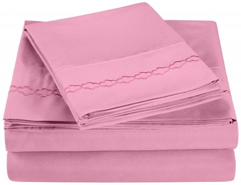 King Pink Superior Clouds Embroidered Microfiber Sheet Set