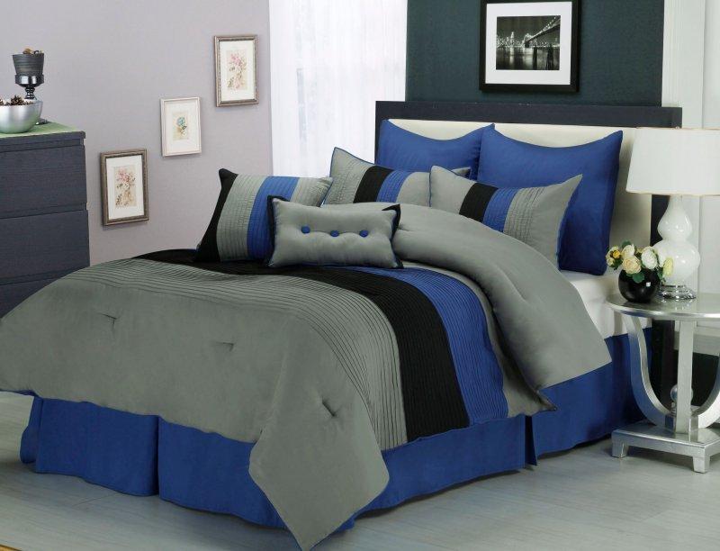 Image 0 of Florence Tri-Color Blue & Gray Line Stitch Microfiber Comforter Set 8-Pieces