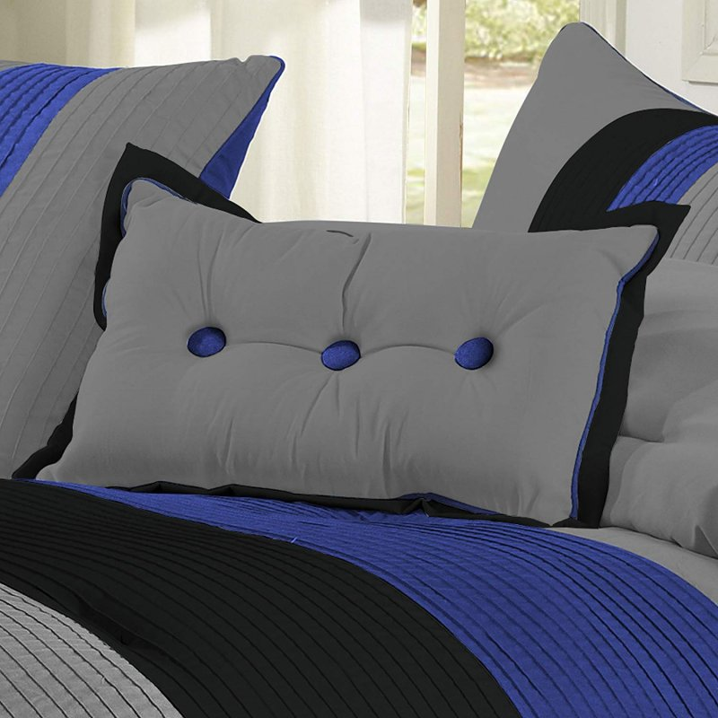 Image 1 of Florence Tri-Color Blue & Gray Line Stitch Microfiber Comforter Set 8-Pieces