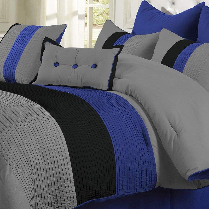 Image 2 of Florence Tri-Color Blue & Gray Line Stitch Microfiber Comforter Set 8-Pieces