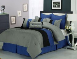 Florence Tri-Color Blue & Gray Line Stitch Microfiber Comforter Set 8-Pieces