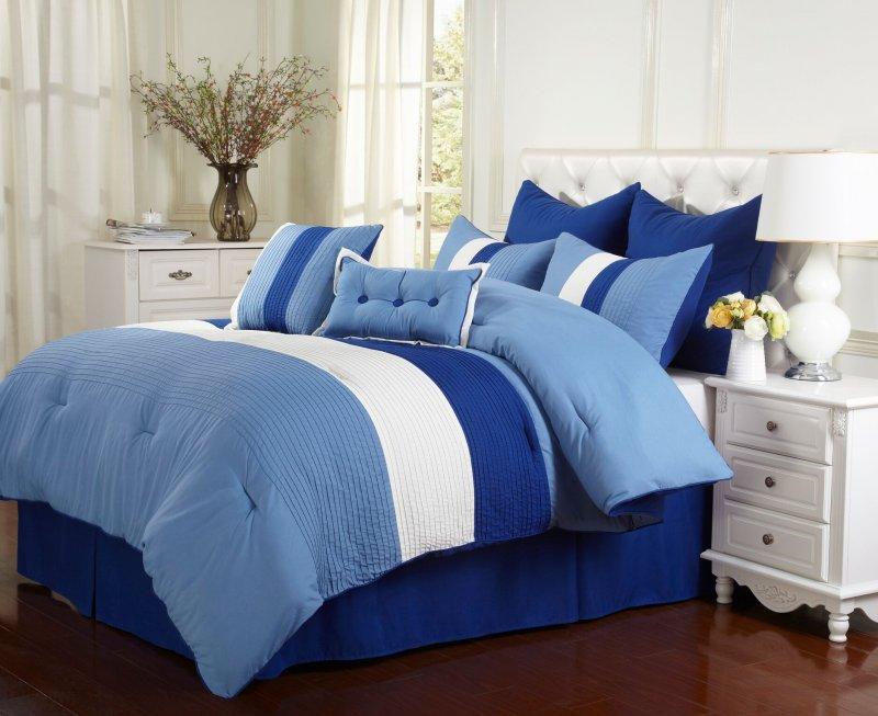 Image 0 of Florence Tri-Color Sky Blue Line Stitch Microfiber Comforter Set 8-Pieces
