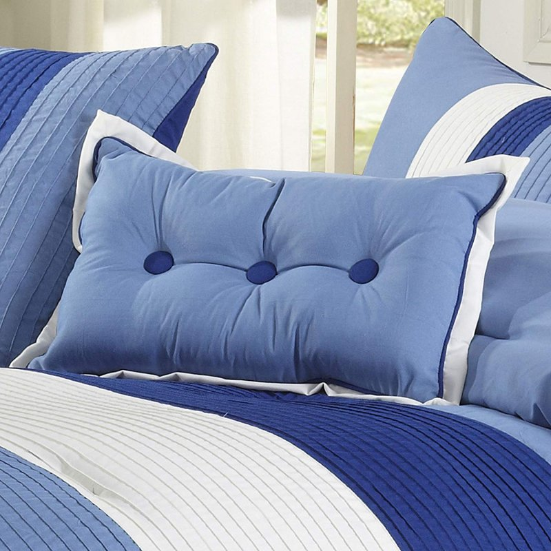 Image 1 of Florence Tri-Color Sky Blue Line Stitch Microfiber Comforter Set 8-Pieces