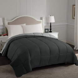 Superior Black & Gray All Season Reversible Down Alternative Comforter
