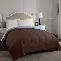 Superior Chocolate & Sky Blue All Season Reversible Down Alternative Comforter
