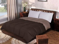 Superior Taupe & Chocolate All Season Reversible Down Alternative Comforter