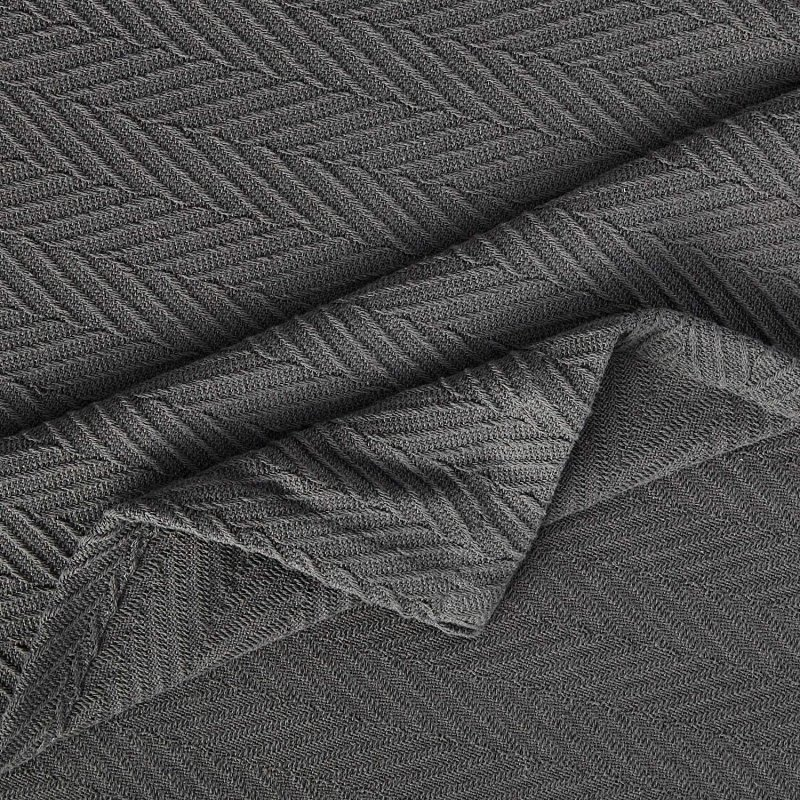Image 2 of Superior Metro Herringbone Weave Pattern Blanket 100% Cotton Charcoal