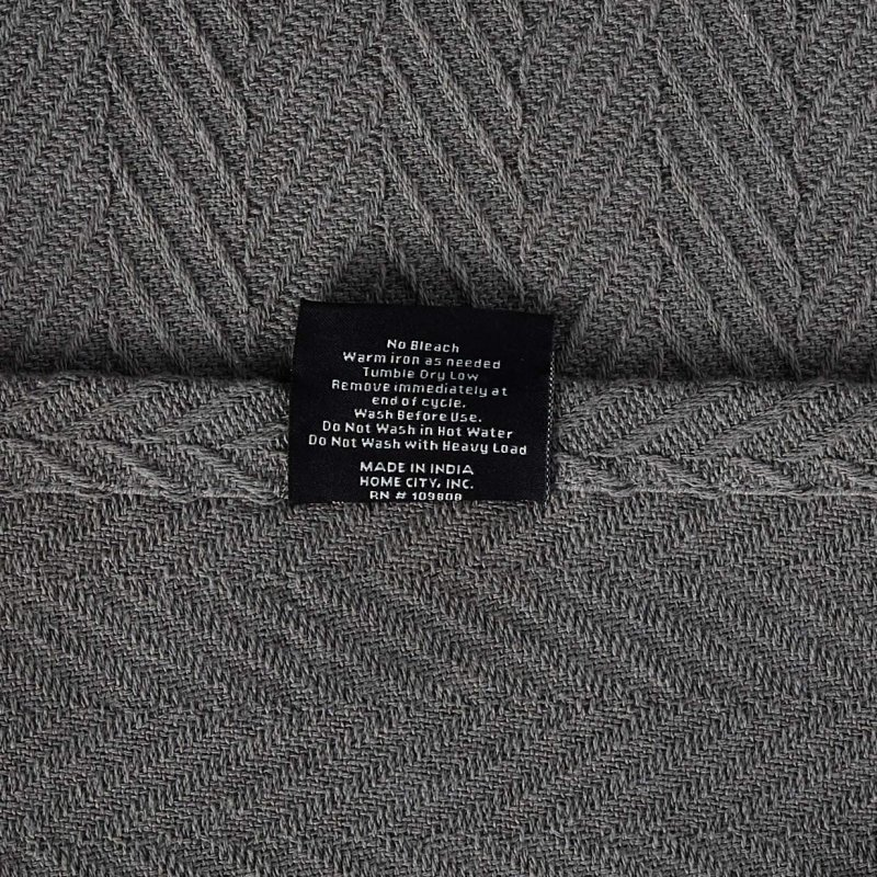 Image 4 of Superior Metro Herringbone Weave Pattern Blanket 100% Cotton Charcoal