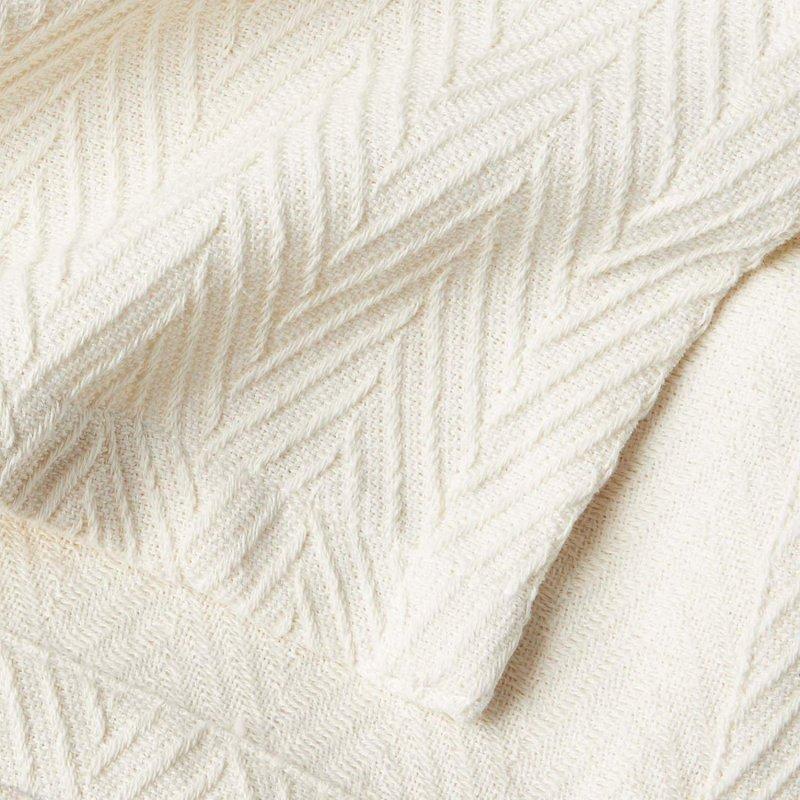 Image 2 of Superior Metro Herringbone Weave Pattern Blanket 100% Cotton Ivory