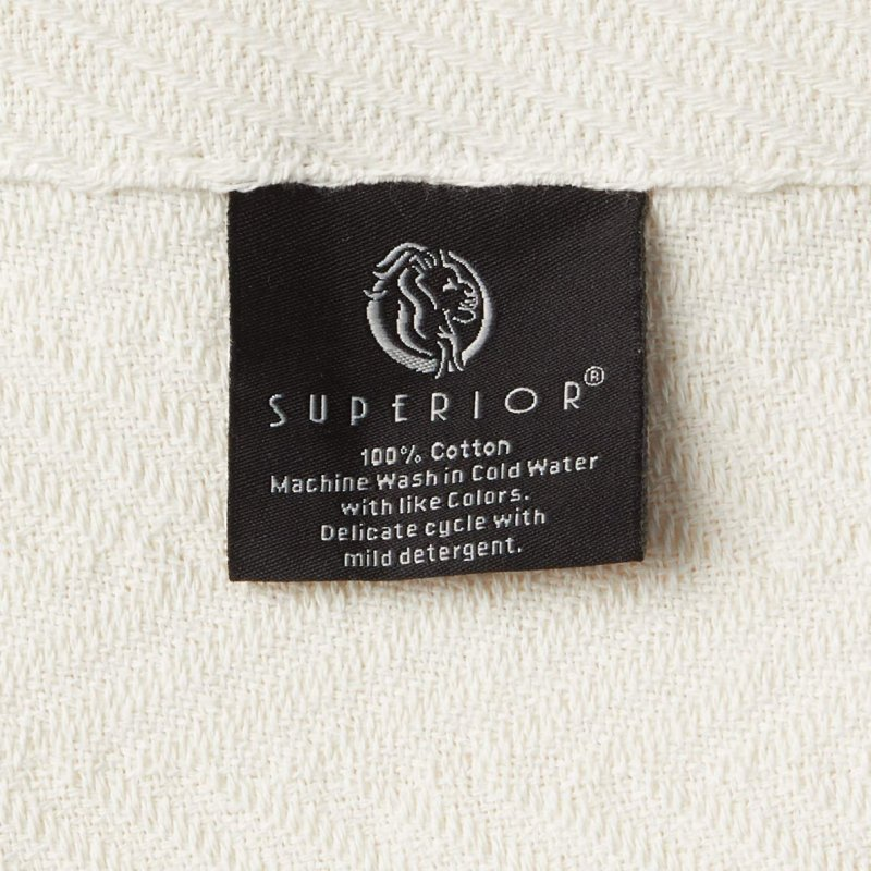 Image 4 of Superior Metro Herringbone Weave Pattern Blanket 100% Cotton Ivory