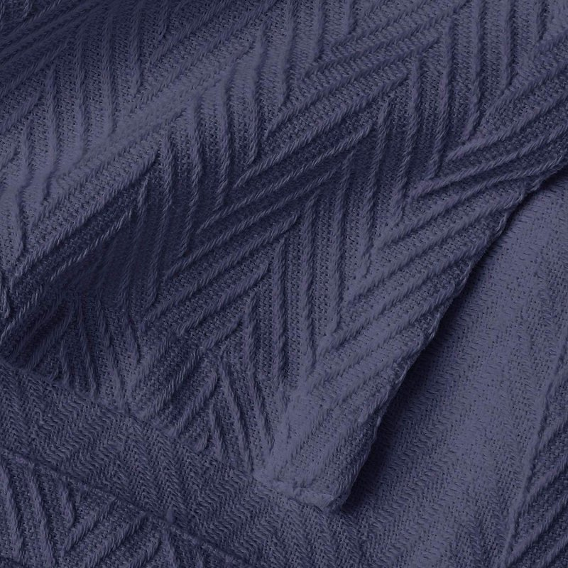 Image 2 of Superior Metro Herringbone Weave Pattern Blanket 100% Cotton Navy Blue