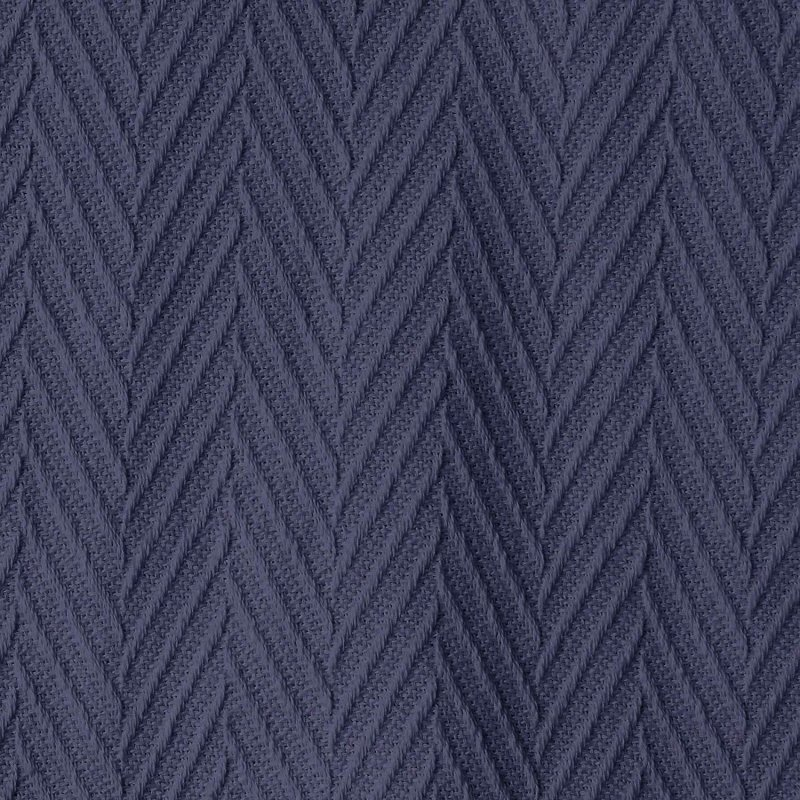 Image 3 of Superior Metro Herringbone Weave Pattern Blanket 100% Cotton Navy Blue