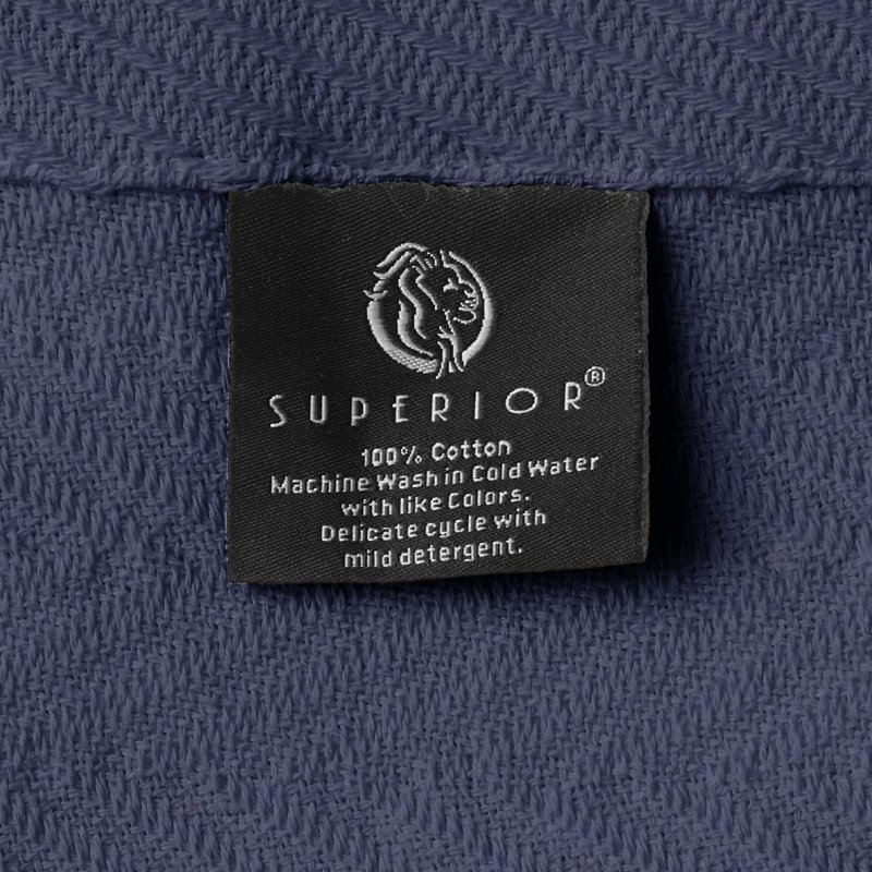 Image 4 of Superior Metro Herringbone Weave Pattern Blanket 100% Cotton Navy Blue