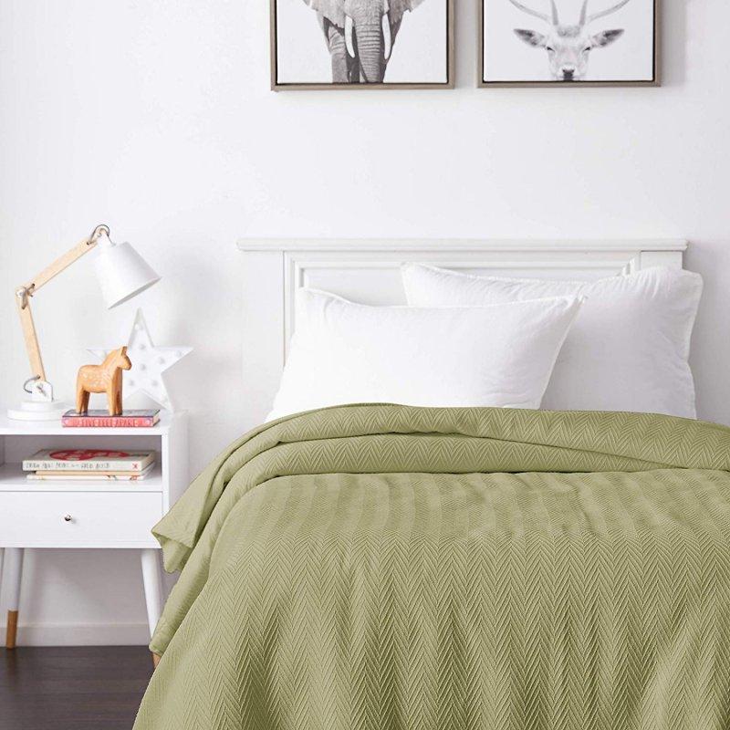 Image 0 of Superior Metro Herringbone Weave Pattern Blanket 100% Cotton Sage Green